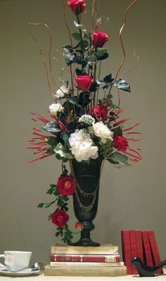 photo of red and white flower arrangement for valentines day or a wedding