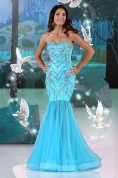 2014 Beaded Sweetheart Mermaid/Trumpet Prom Dress Sweep Train With Tulle Skirt