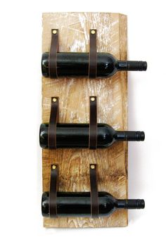 Wine Rack with reclaimed wood and recycled leather