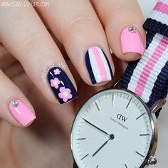 NailsByErin: Navy and Pink Mix & Match Nails Spring Nail Art, Spring Nails, Summer Nails, Cute Nail Art, Beautiful Nail Art, Mix Match Nails, Navy Nails, Toe Nail Designs, Fabulous Nails