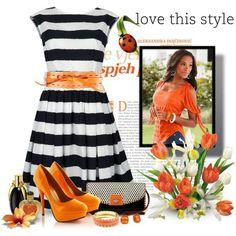 Black and white stripes, orange pumps and belt