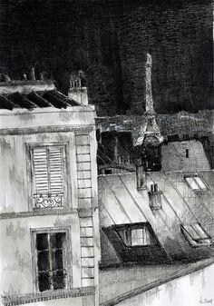 Les toits de Paris. Black ink drawing. By Nicolas Jolly