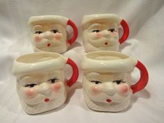 Vintage Christmas Ceramic Santa Face Head Mugs Cups Set Of 4