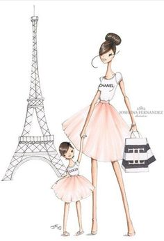 Happy Mother's day to all the mommies out there! (Including moms of fur babies of course 💕) This is a custom illustration I made last year… Arte Fashion, Ideias Fashion, Girl Fashion, Fashion Design, Chanel Fashion, Art Et Illustration, Tour Eiffel, Fashion Sketches, Fashion Illustrations
