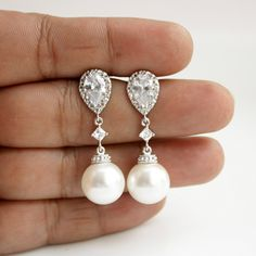 Pearl Wedding Earrings Crystal Pearl Bridal Earrings White Round Swarovski Pearl Earrings by poetryjewelry on Etsy