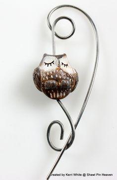 Owl Pin Brooch Pin Shawl Pin Sleep Owl Animal by ShawlPinHeaven