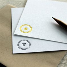 custom letterpress monogram notecards set of by shortgrassdesigns, $35.00
