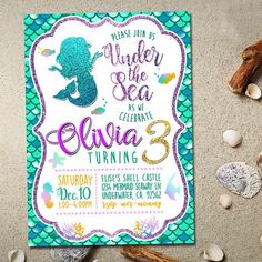 Mermaid Invitation Mermaid Birthday por FancymyCupcakeTopper