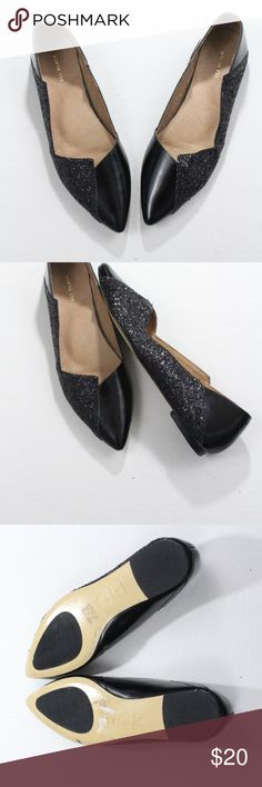 All Black Glitter Leather Ballet Pointed Toe Flats Size 8, narrow  Leather Glitter All Black Shoes Flats & Loafers
