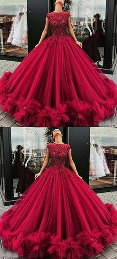 Elegant burgundy prom dresses, cap sleeves birthday prom dresses,party dress,ball gown, Shop plus-sized prom dresses for curvy figures and plus-size party dresses. Ball gowns for prom in plus sizes and short plus-sized prom dresses for Prom Dresses With Sleeves, Tulle Prom Dress, Prom Party Dresses, Maroon Prom Dress, Tulle Lace, Ball Gowns Prom, Ball Dresses, Evening Dresses, Quencenera Dresses