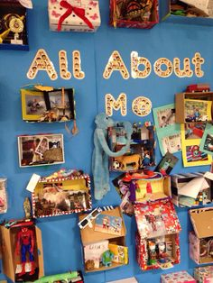 Amazing display made from objects, photos etc in shoe boxes for Early Years topi. All About Me Display Eyfs, All About Me Eyfs, All About Me Topic, All About Me Activities, All About Me Preschool, Preschool Activities, Early Years Displays, Early Years Topics, Class Displays