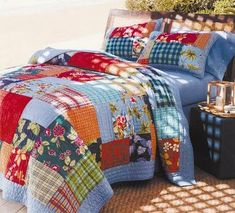 Plaids mixed with dark florals, reds and blues. Patch Quilt, Rag Quilt, Scrappy Quilts, Applique Quilts, Quilt Block Patterns, Quilt Blocks, Crochet Quilt, Cozy Bed, Square Quilt