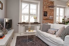 Brick wall + subtle gold touches