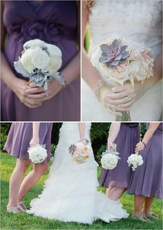 I love love love the color of the dresses, and even the flowers are in the white/peach that I've been thinking of. I love that they used the succulent flower to accent the purple (just once!) in the bouquet!  Beautiful!