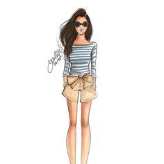 Striped and bows : @sarahkjp #FashionSketch #fashionillustrator…