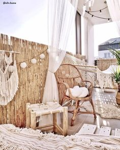 Boho furniture for the balcony 💚 It& time to decorate the terrace. All of us dream . Small Balcony Decor, Balcony Plants, Balkon Design, Cozy House, Hanging Chair, Diy Home Decor, Bedroom Decor, House Design, Outdoor Decor