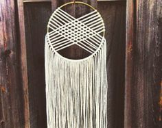 Items similar to Modern Macrame Alterna Dream Catcher with Wooden Beads - Desert Inspired or Ivory on Etsy Macrame Projects, Craft Projects, Diy And Crafts, Arts And Crafts, Yarn Wall Hanging, Wall Hangings, Idee Diy, Weaving, Etsy