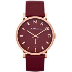 Marc by Marc Jacobs Watch, Women's Baker Deep Maroon Leather Strap... ($131) ❤ liked on Polyvore featuring jewelry, watches, accessories, bracelets, relógios, logo watches, marc by marc jacobs jewelry, stainless steel jewelry, stainless steel watches ve stainless steel wrist watch
