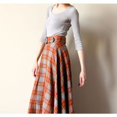 60s Plaid Wool Maxi Skirt, boho hippie Tartan long a-line preppy kilt... ($44) ❤ liked on Polyvore featuring skirts, brown maxi skirt, long boho skirt, long a line skirt, long maxi skirts y long skirts