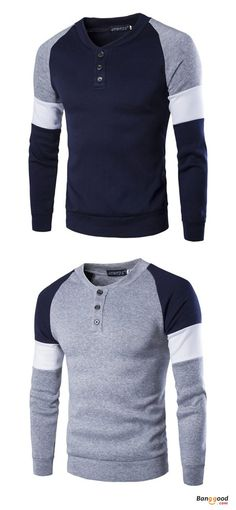 Mens Fashion Casual British Style Sweater Spell Color Stitching Button  Raglan Sleeve T-shirt 3b7223c882
