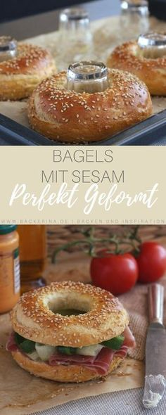 Bagels com sementes de gergelim - backen - Delicious Pancakes Pizza Recipes, Baking Recipes, Chicken Recipes, Drink Recipes, Bread Recipes, Sandwich Recipes, Snacks Recipes, Recipe Chicken, Roast Chicken
