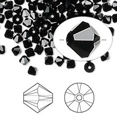 Bead, Swarovski crystal, Crystal Passions®, jet, 4mm Xilion bicone (5328). Sold per pkg of 144 (1 gross).