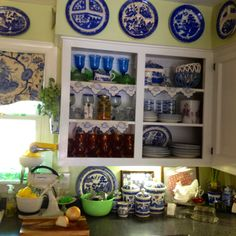 My Kitchen Cabinets And My Blue Willow Grill Plates.
