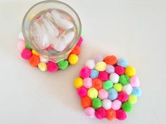 """DIY: Use felt to make these colorful """"gumball"""" coasters."""