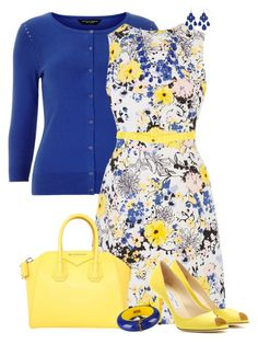 """""""Canary and Blue"""" by maggie478 ❤ liked on Polyvore featuring Dorothy Perkins, Warehouse, Jimmy Choo, Givenchy, Charlotte Russe, Dsquared2, Apt. 9 and DOUUOD"""