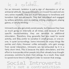 "Social Introverts - Precisely!! This explains it better than I've been able to.  <---- I'm a social introvert.  I love people but feel drained when I spend too much time around too many of them.  Give me some time to withdraw and recharge my ""introvert batteries,"" and I'm good.  :)"