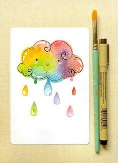 Rainbow Cloud Art Print: Kawaii Cute Colorful Rainbow Giclee Illustration Print for Home, Nursery Art, Reproduction Art, Children& Room Kawaii Drawings, Cute Drawings, Watercolor Cards, Watercolor Paintings, Watercolours, Happy Paintings, Watercolor Print, Art Kawaii, Art Mignon