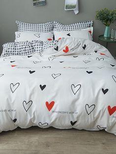 Product name: Heart & Letter Print Sheet Set at SHEIN, Category: Bedding Sets Bedroom Sets, Girls Bedroom, Bedroom Decor, Master Bedroom, Guest Bedrooms, Master Suite, Luxury Duvet Covers, Luxury Bedding Sets, Bedding Sets Online