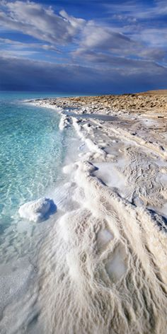 The shore of The Dead Sea, Israel. Dead Sea contains 26 essential minerals, twelve of the Dead Sea minerals do not exist in any other sea or ocean in the world. Places Around The World, Oh The Places You'll Go, Places To Travel, Places To Visit, Around The Worlds, Dream Vacations, Vacation Spots, Beautiful World, Beautiful Places