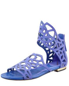 Cutout Suede Flat Sandal, Purple by B Brian Atwood at Bergdorf Goodman.