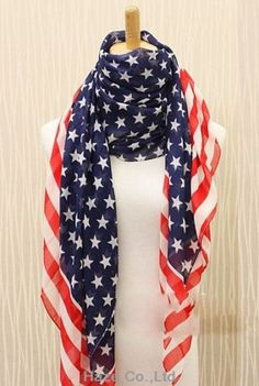 New personalized #american flag #stars stripes #pattern voile shawl scarf  wo473,  View more on the LINK: 	http://www.zeppy.io/product/gb/2/251695621283/