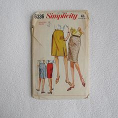 Vintage Simplicity 6336 for Tailored Skirts, 1960s Sewing Pattern, Vintage Patterns, waist 38, Hips 48, Size Large Extra Large by NatashaDeVil on Etsy