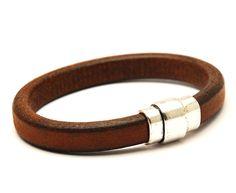 Leren armband met magneetsluiting bruin