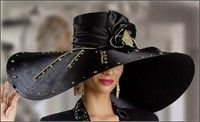 Dramatic Oversized Black Hat with Gold Accents $396.00