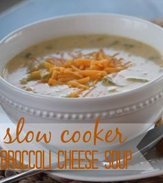 Slow Cooker Broccoli Cheese Soup. Use pareve chicken bouillon or veggie stock.