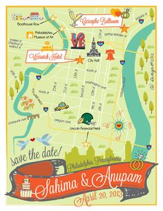 Custom Wedding Save the Date Magnets - Philadelphia, PA Map