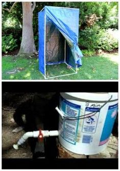 homemade portable shower made with PVC pipe, 2 hula hoops