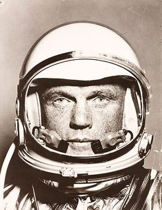 John Glenn ready for his Friendship 7 flight in February 1962. The picture is likely to have been taken by the photographer Ralph Morse