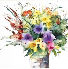 's media content and analytics Watercolor Projects, Watercolor Artists, Watercolor Landscape, Watercolor Paintings, Watercolors, Watercolor Pictures, Watercolor And Ink, Watercolor Flowers, Hydrangea Painting