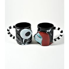 Black Ceramic Nightmare Before Christmas Sally & Jack Mug Set ($44) ❤ liked on Polyvore featuring home, kitchen & dining, drinkware, multicolor, christmas cups, christmas mug set, black cup, ceramic mug set and colorful cups
