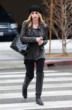 Black Boots Outfit, Sarah Michelle Gellar, Santa Monica, Over The Knee Boots, Bomber Jacket, Black Leather, Actresses, Buffy, Jackets