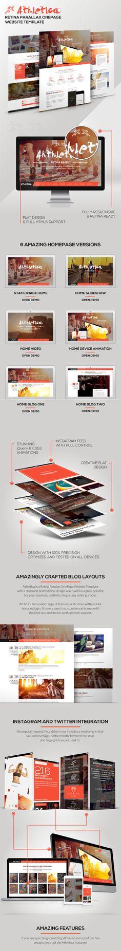 Athletica - Retina Parallax OnePage Web Template on Web Design Served