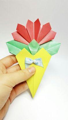 다가올 5월에 유용하게 쓰일 카네이션 접기를 소개합니다. 한송이 카네이션이 꽃다발에 담겨있는 모습입니...