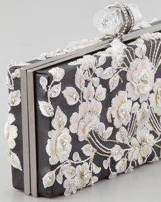 Details...Marchesa Simonetta Embroidered Rectangle Box Clutch, Black/Pink - Neiman Marcus