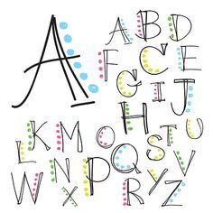 Illustration about Black colorful alphabet uppercase letters.Hand drawn written with a soft watercolor paint brush chalk pencil. Illustration of language, background, alphabet - 63342137 Hand Lettering Alphabet, Doodle Lettering, Lettering Styles, Fun Fonts Alphabet, Lettering Ideas, Handwriting Fonts Alphabet, Bubble Letter Fonts, Calligraphy Letters Alphabet, Alphabet Letters Design