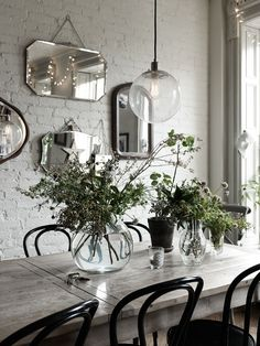 Collection of vintage wall mirrors , these look perfect on the rustic exposed brick wall
